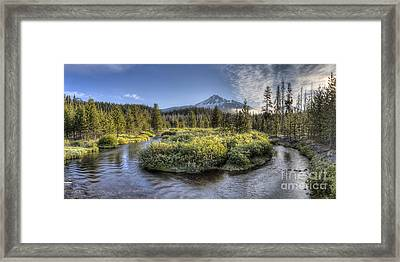 Soda Creek Winding To Broken Top Framed Print by Twenty Two North Photography