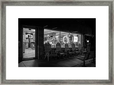 Soda Pops At Night In Black And White Framed Print