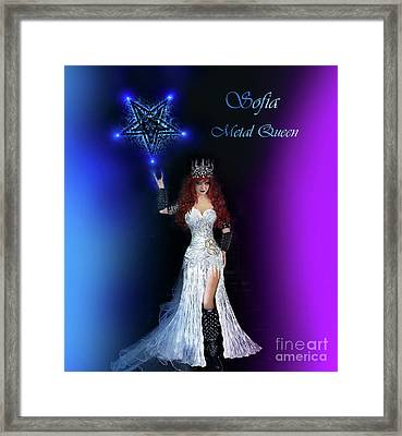 Sofia Metal Queen. Lights And Pentagram Framed Print by Sofia Metal Queen
