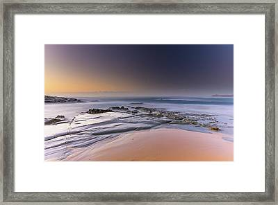 Soft And Rocky Sunrise Seascape Framed Print