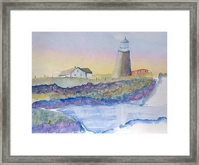 Soft Blue And A Light House Framed Print by MaryBeth Minton