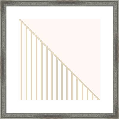 Soft Blush And Champagne Stripe Triangles Framed Print by Linda Woods