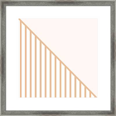 Soft Blush And Coral Stripe Triangles Framed Print by Linda Woods