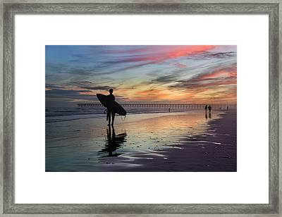 Surfing The Shadows Of Light Framed Print