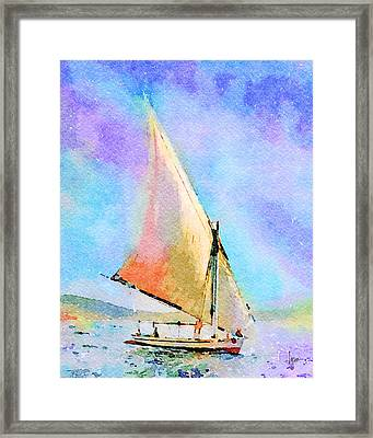 Framed Print featuring the painting Soft Evening Sail by Angela Treat Lyon