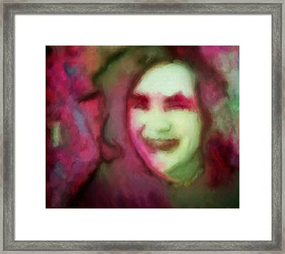 Soft Female Portrait Painting Of A Girl Eve In Pink Green Red And Brown From Girl In Final Fantasy Four Video Games Concept Art Framed Print by MendyZ