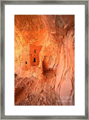 Soft Glow On Tower House Framed Print