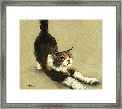Framed Print featuring the painting Soft Kitty by Anastasiya Malakhova