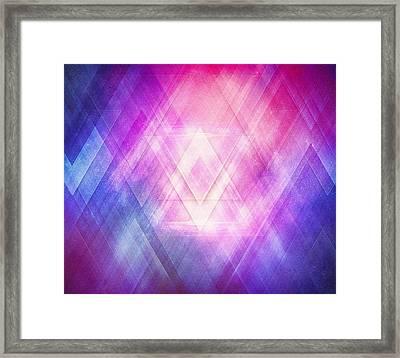 Soft Modern Fashion Pink Purple Bluetexture  Soft Light Glass Style   Triangle   Pattern Edit Framed Print