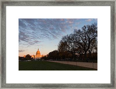 Soft Orange Glow - U S Capitol And The National Mall At Sunset Framed Print