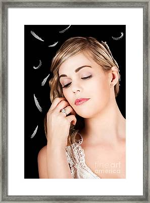 Soft Portrait Of A Beautiful Blonde Fashion Model Framed Print by Jorgo Photography - Wall Art Gallery
