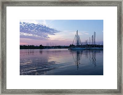 Soft Purple Ripples - Yachts And Clouds Reflections Framed Print by Georgia Mizuleva