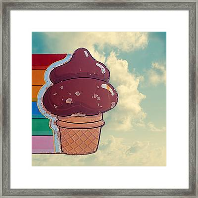 Soft Serve - Ice Cream Cone Art Framed Print by Melanie Alexandra Price
