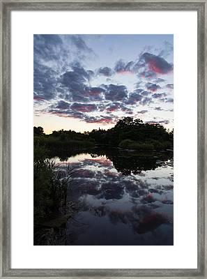 Soft Summer Semidarkness - Reflecting On Colorful Skies Framed Print by Georgia Mizuleva