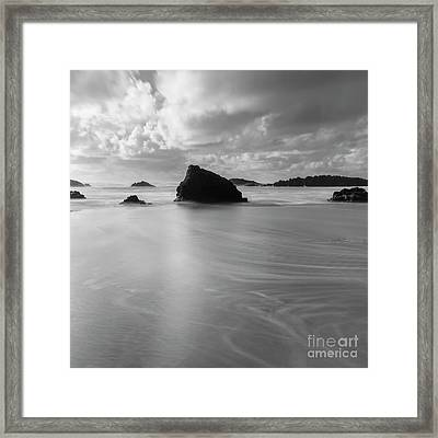Under The Clouds, On The Beach Framed Print by Masako Metz
