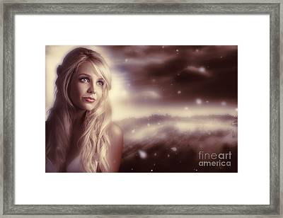 Soft Young Elegant European Woman In Winter Snow  Framed Print