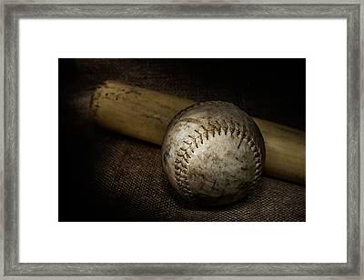 Softball And Bat Framed Print by Erin Cadigan