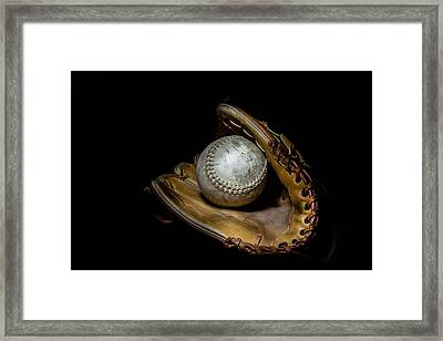 Softball And Glove Framed Print by Erin Cadigan