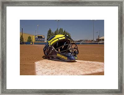 Softball Catcher Helmet Framed Print
