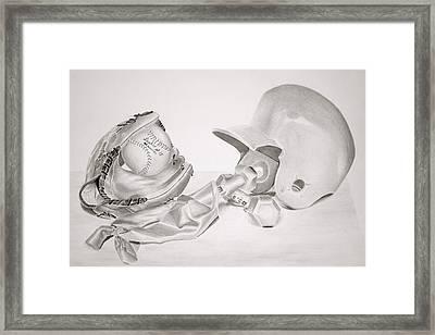 Softball Framed Print by Leslie Ann Hammer