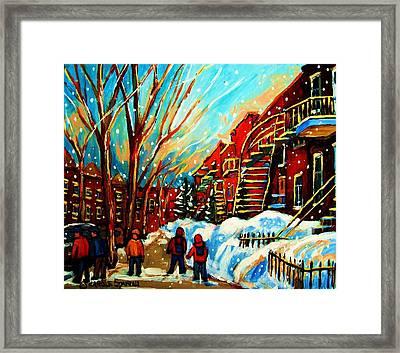 Softly Snowing Framed Print by Carole Spandau