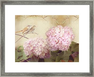 Softly Summer - Carolina Wrens W Blush Pink Hydrangeas Framed Print