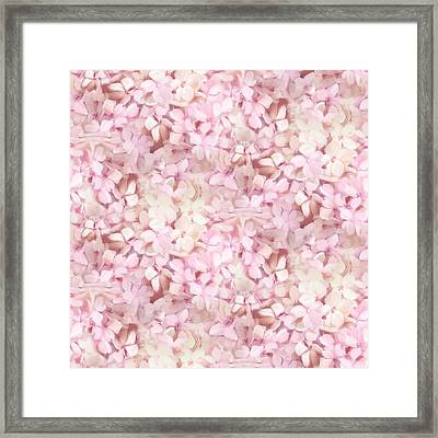 Softly Summer - Hydrangea Floral Half Drop Pattern Framed Print