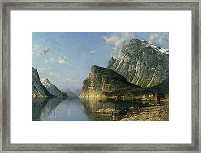 Sogne Fjord Norway  Framed Print by Adelsteen Normann