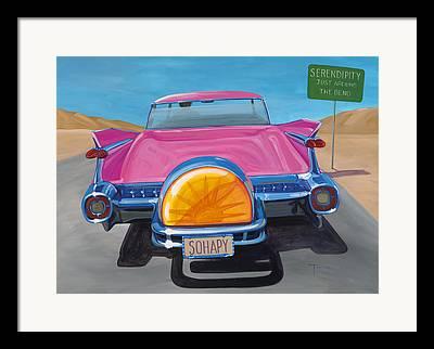 Pink Cadillac Framed Prints