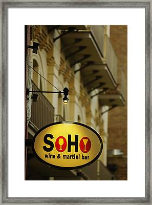Soho Wine Bar Framed Print by Jill Reger