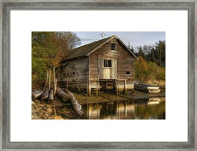 Sointula Boat Shed Framed Print by Darryl Luscombe