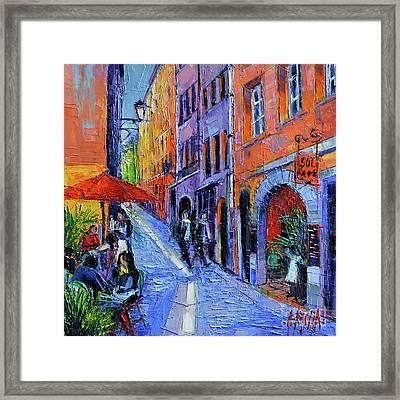 Sol Cafe Lyon Modern Impressionist Palette Knife Oil Painting Framed Print