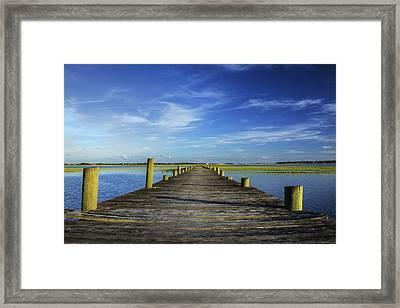 Sol Legare Wooden Dock Vanishing Point Framed Print by Dustin K Ryan