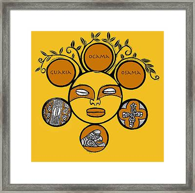 Framed Print featuring the drawing Sol Taino by Aurora Levins Morales