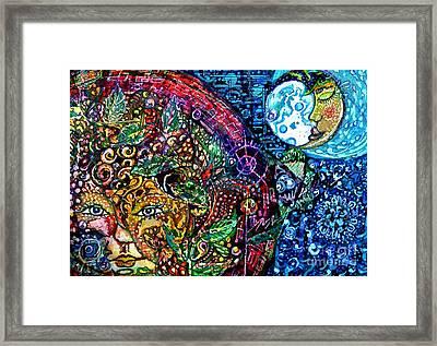 Solar Baby, Sleepy Moon Framed Print by M E Wood