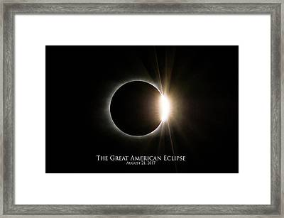 Framed Print featuring the photograph Solar Eclipse Diamond Ring With Text by Lori Coleman