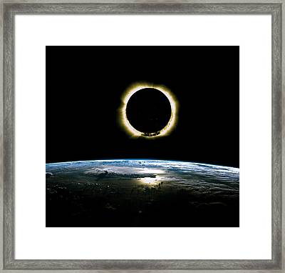Solar Eclipse From Above The Earth - Infrared View Framed Print