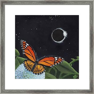Solar Eclipse Monarch Framed Print by Sally Chernenko