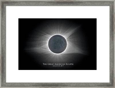 Framed Print featuring the photograph Solar Eclipse With Moon Detail And Text by Lori Coleman