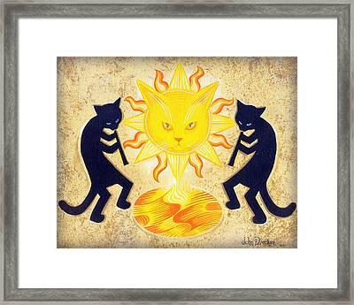 Solar Feline Entity Framed Print by John Deecken