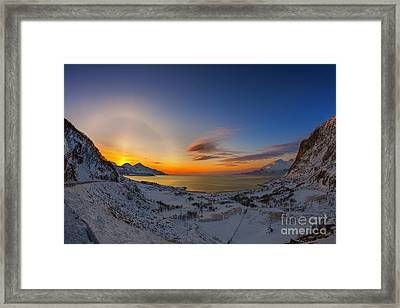 Solar Halo And Sun Pillar, Norway Framed Print