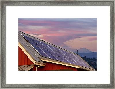 Solar Panels On Roof Of House Framed Print by David Gn