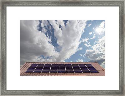 Solar Panels On Roof Top Framed Print by David Gn