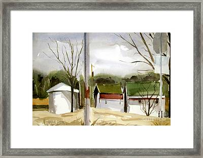 Framed Print featuring the painting Solar Powered Farm Matted Glassed And Framed by Charlie Spear