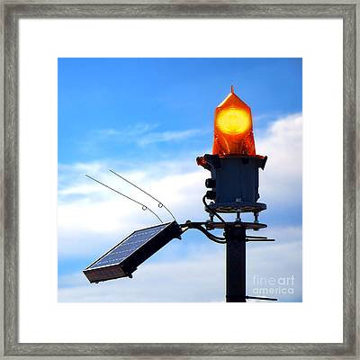 Solar Powered Marine Safety Orange Beacon Light  Framed Print by Olivier Le Queinec