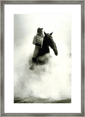 Soldier And Horse Wearing A Gas Mask During The Battle Of Verdun Framed Print