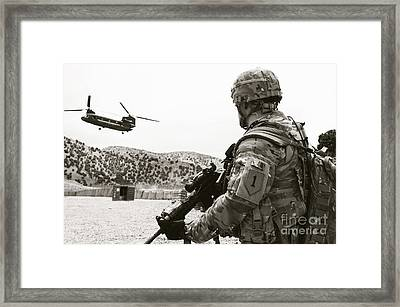 Soldier Assigned To The 1st Infantry Framed Print
