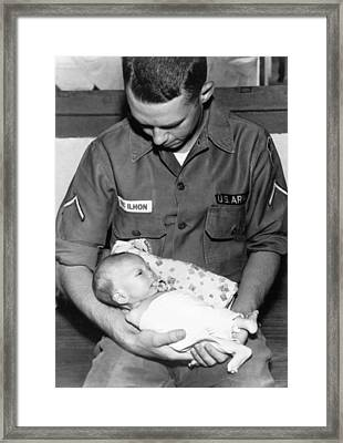 Soldier At Orphanage Framed Print by Underwood Archives