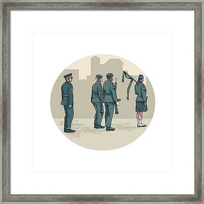 Soldier Bagpiper Marching Circle Watercolor Framed Print