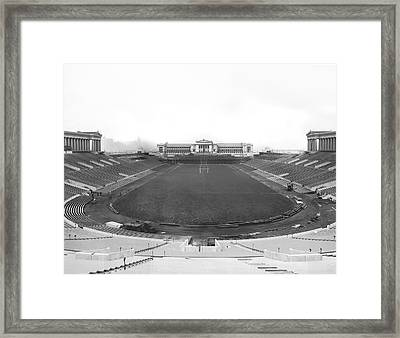 Soldier Field In Chicago Framed Print by Underwood Archives